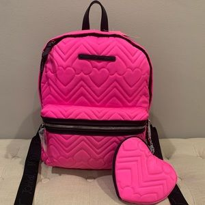 Betsey Johnson Quilted Neon Pink Backpack